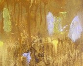 Abstract painting, small autumnal fine art original in gold ochre, light yellow, lilac, 12 x 9 inches