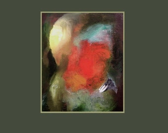 Fine art print, rich colours, 'Deep Within',  from  oil painting, red, green, aquamarine, yellow, A6 to A3 size