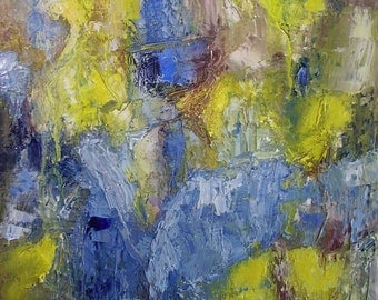 "Painting, abstract, spring summer theme, blue,  lemon yellow, textural, 16 x 12 in, ""The Brimstone is a Great Wanderer"""