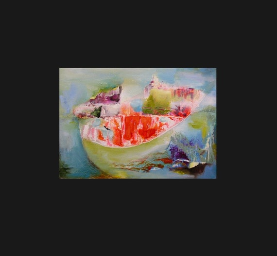 Fine art reproduction print, abstract, small, bright, juicy orange, pea green, sky blue, A6 to A3 size