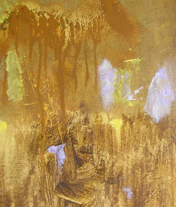 Abstract painting, small fine art original in gold ochre, light yellow, lilac, 12 x 9 inches