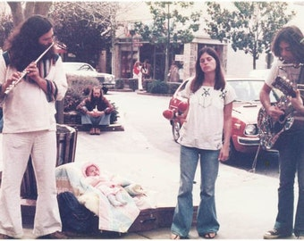 Vintage photo greeting card Hippie Street Musicians Santa Cruz California fine art photo