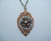 Large Victorian Steam Punk Bohemian Vintage Inspired rhinestone Necklace Pendant