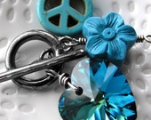 Peace Love Happiness Necklace, Aqua Teal Crystal Heart Pendant, Turquoise Peace Sign, Aqua Flower, Hippie Necklace Jewelry, Yoga Jewelry
