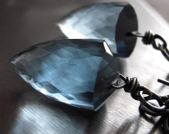 Hydro Quartz London Blue Earrings, Bullet Faceted Slate Blue Stone Drop Earrings with Oxidized Sterling Silver, Modern Jewelry, Luxury Gift