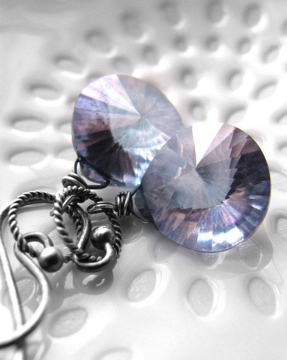 Cornflower Blue Gemstone Earrings, Concave Heart-Faceted Teardrop, Lavender Blue Quartz Gemstone Earrings, Oxidized Sterling Silver