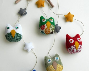 Personalized Children Owl Mobile Hand stitched Original- Made to Order within two weeks
