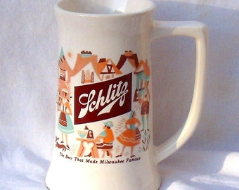 1950's McCoy Pottery Schlitz Beer Stein