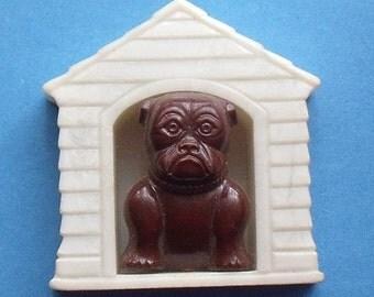 Vintage Dollhouse Miniature Doghouse with Bulldog
