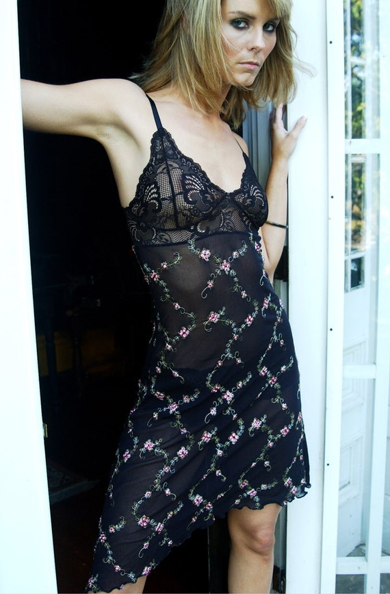 LAST ONE Sexy See Through Nightgown - Women's Made To Order Lingerie - 'Blazing Star' Nightie