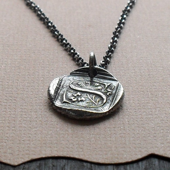 Monogram Fine Silver Wax Seal Necklace MADE TO ORDER
