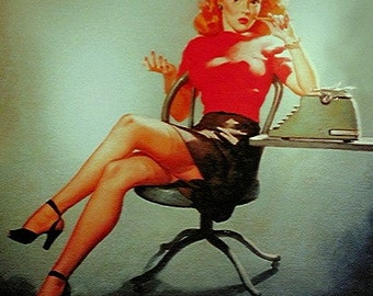 ELVGREN pin-ups - MAD MEN - 8x11 Signed Office Pinup - Secretary Girl expose upskirt stockings nylons garters Pin-Up Art Illustration