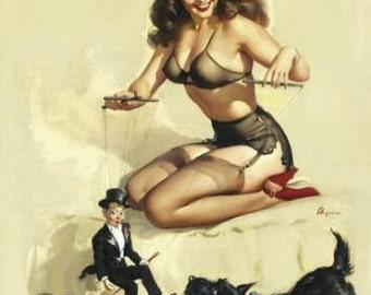 ELVGREN - EASY to HANDLE  - Pinup - art deco to modern pin-up, sheer see through lingerie, panties, garter belt, bra stocking Scotty 12x18