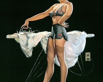Elvgren  PRESSING DETAILS From ORIGINAL 8x11 Laundry Room Pin-Up sheer see though lingerie nylons stockings bra panties garter belt hearts