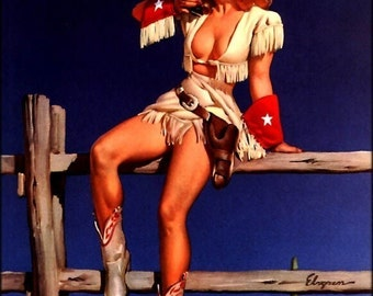 COWGIRL VALENTINE SALE 50% Off Pin-Up Elvgren - Taxes Cow Girl with Colt pistol revolver gun - pinup - Larger 12x18 Proof Print