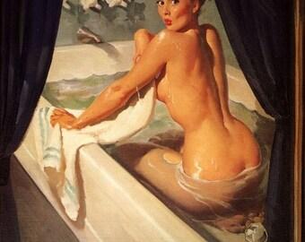 Sale LARGE 20x26 Canvas  JEEPERS PEEPERS Elvgren Art Deco Tub Pinup 1940s 50s Nude Bathroom Pin-Up Vintage Bath room illustration