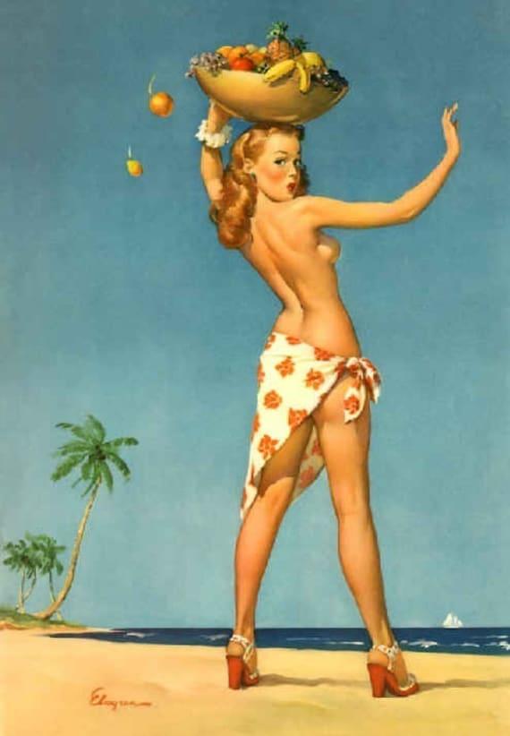 ELVGREN - TOPS em ALL- Tiki Pinup - Coconuts - Hula - Island Girl pin-up - Hawaiian - Bahamas - Sarong - Redhead - Vanguard Gallery