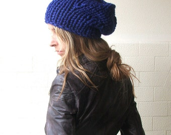 slouchy Blue hat / Electric blue beanie / chunky/ vegan friendly READY TO SHIP