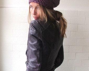 Plum  hat / slouchy hat / purple beanie /  plum chunkier hat, vegan friendly
