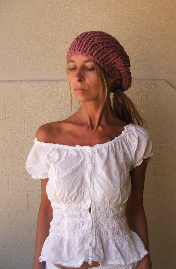 Pink beanie Hat pink cotton hat cotton linen and silk summer beanie hat in a lavender Rose  pink Ltd Edition