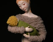 Large Sculpture 'Gently Holding' mother and baby art doll one of a kind mixed media