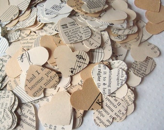 Vintage Wedding - Vintage Paper Heart Confetti - Sheet Music wedding confetti heart wedding decor wedding favors whimsical