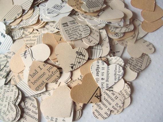 Vintage Book Confetti - Vintage Wedding - Romantic Vintage Heart Confetti