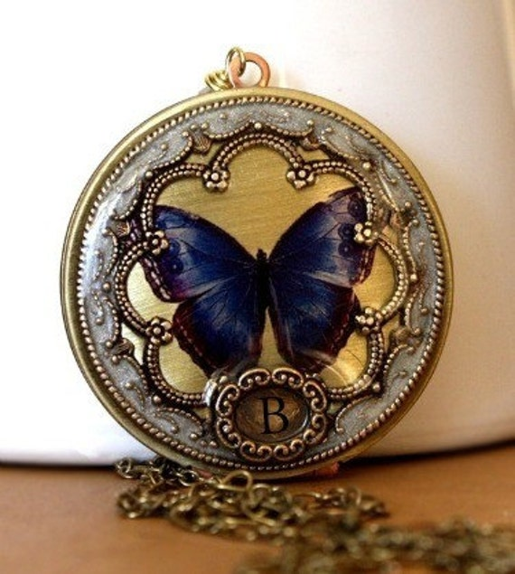 Butterfuly Locket, Personalized Necklace, Blue Necklace, Purple Butterfly, Vintage Locket Necklace, Wedding Jewelry, Bridesmaid Necklace