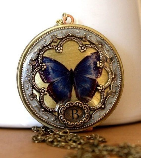 Pearl Necklace, butterfly locket, picture locket, mothers day necklace, personalized necklace, vintage locket, blue image locket