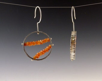 full circle spinner earrings---- carnelian and sterling silver