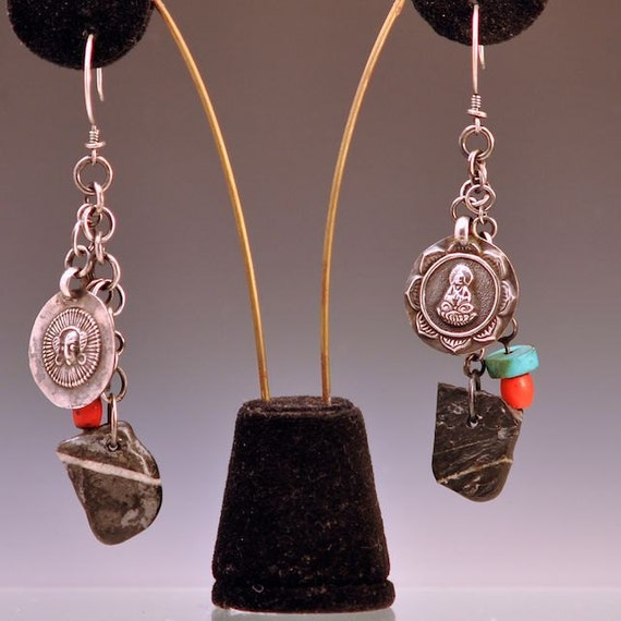 amulet earrings sterling silver turquoise sherpa coral stone