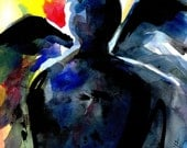 """Abstract Angel Watercolor, Painting, Spiritual Art, """"Angel 5"""" Original similar to the one featured in West Elm by Kathy Morton Stanion EBSQ"""