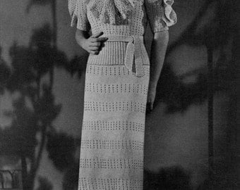 Vintage Dress Pattern - Knitted Eyelet Dress - 1930s