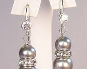 Silver Light Grey Pearl & Rhinestone CZ Earrings, mercury, gray, stormy, carbon, aluminum, charcoal, mercury, graphite, silver mist