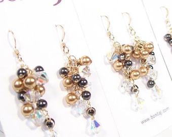 Gold & Black Bridesmaids Earrings, Black Bridesmaids, Gold Weddings, Caramel Jewelry, Gold Bridesmaids, Small Chandelier Wedding Earrings