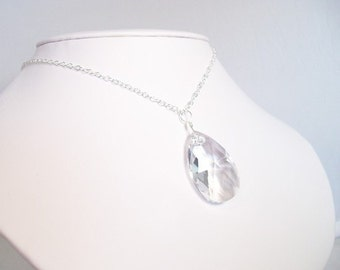 Chunky Crystal Teardrop Bridal Necklace, Pendant, Large faceted sparkling clear crystal, twinkle twinkle, sparkling, sparkle