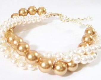 Gold & Cream Bridal Bracelet, Three Strand Wedding Bracelet, Cream Bridal Jewelry, Gold Bridal Jewelry Bracelet, Chunky Bridesmaids Bracelet