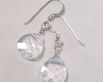 Crystal Teardrop Wedding Earrings, Bridal Jewelry, Small Drop Bridesmaid Earrings, Clear Teardrops, Crystal Wedding Jewelry, Bridal Earrings