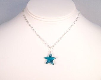 Teal Blue Starfish Necklace, Ocean Blue Wedding Beach Necklace, Beach jewelry, Nautical Beach Bridesmaids Jewelry, Pool Blue Necklace