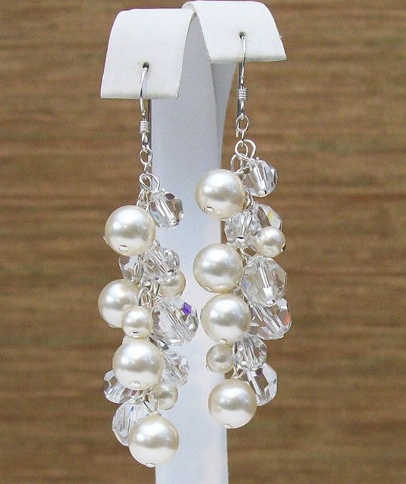 Cream & Crystal Cluster Wedding Earrings, Full Chandelier, sparkle, ivory, bisque, soft ivory, diamond white, clear crystals, long off white