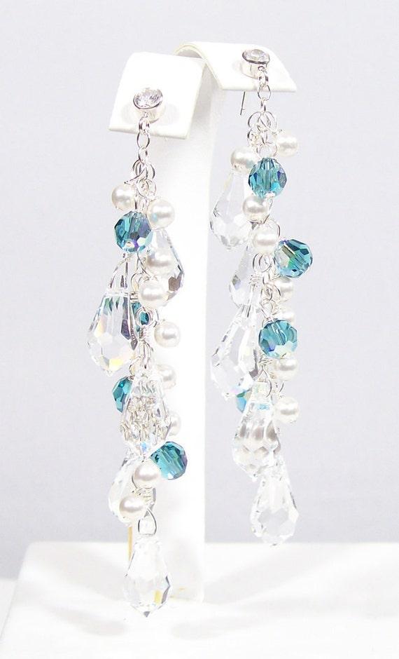crystal, White & Ocean Blue Teardrop Pearl and Crystal Chandelier Earrings, Beach Wedding Accessories, blue, aquamarine, peacock