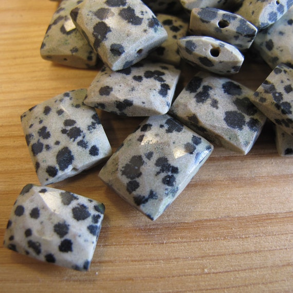 10 Dalmatian Jasper Beads, Ten Chicklet Beads, Awesome Gemstones for Making Jewelry, Rectangle Beads, Jewelry Supplies (S-DJ2)