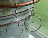 Sterling Silver Hoop Earrings - Curly Q - Hoop Earrings - Forward Facing