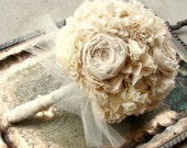 Handmade Bridal Bouquet, Weddings, Vintage Wedding, Fabric Flowers Bouquet, Unique Wedding Bouquet