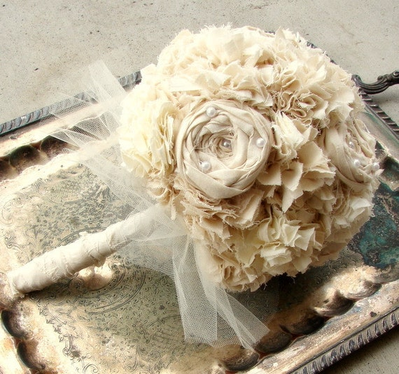 RESERVED Fabric Bouquet, Weddings, Bouquet, Alternative Bouquet, Fabric Flower Bouquet