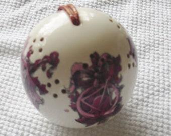 Home Decor BedRoom Pomander Sachet Ball White China w Musical Lutes Ribbons Pink Purple Tints By NanaSarah