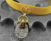 Gold Rose Steampunk Bracelet - Because She Is My Golden Rose by COGnitive Creations