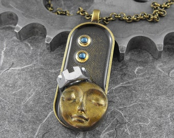Steampunk Calm Golden Face Woman Mixed Media Necklace - The Royal Time Goddess by COGnitive Creations