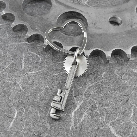 Steampunk Heart Wrench Keychain Key Ring - Quit Being a Tool by COGnitive Creations