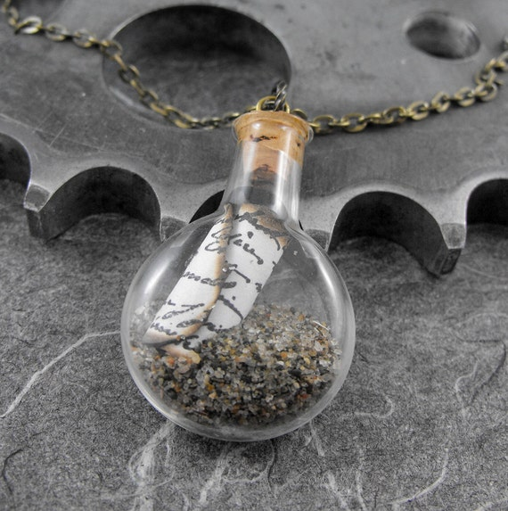 Letter In a Bottle Necklace - Timeless Letter In a Bottle by COGnitive Creations